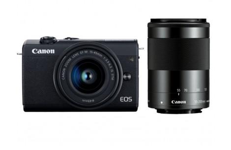 Canon EOS M200 Kit + EF-M 15-45mm F3,5-6,3 IS STM + EF-M 55-200mm IS STM schwarz