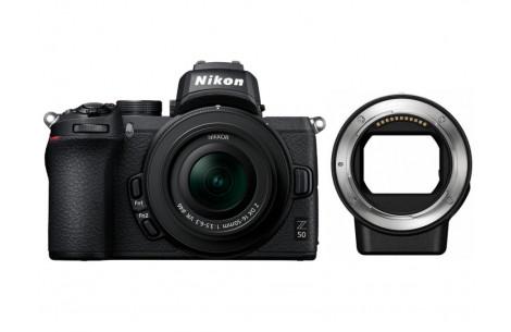 Nikon Z50 Kit + DX 16-50 mm 1:3.5-6.3 VR + FTZ Objektivadapter