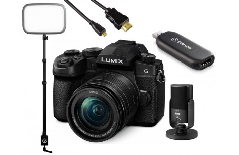 Streaming Kit Panasonic Lumix G91 12-60 + Elgato Camlink + Keylight + Hama 2m HDMI Kabel