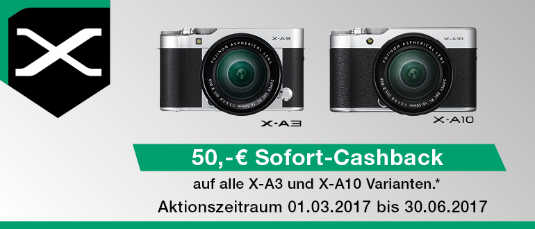 Foto Meyer Berlin Cashback und Sparaktionen:  FUJIFILM X-A3/X-A10 SOFORT-CASHBACK