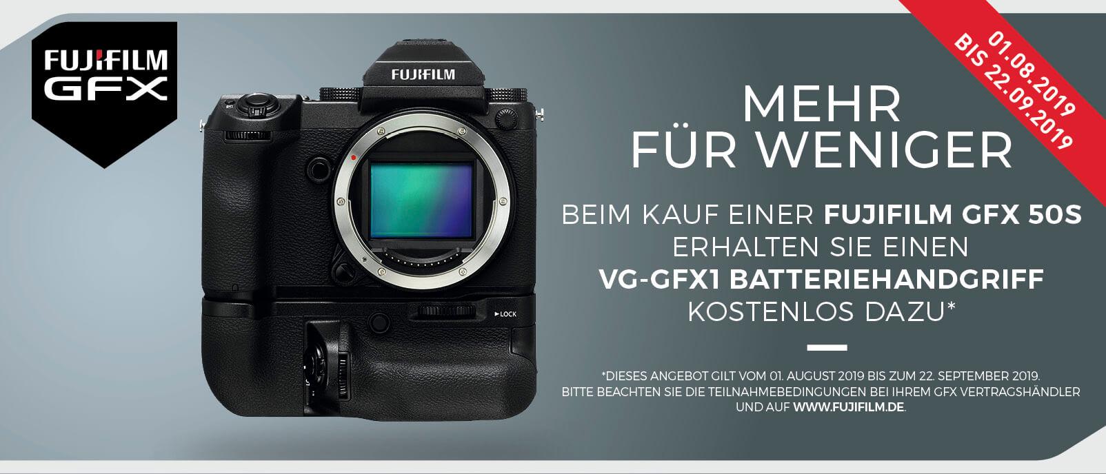 Foto Meyer Berlin Cashback und Sparaktionen:  FUJIFILM GRATIS GFX 50S BATTERIEHANDGRIFF